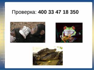 Проверка: 400 33 47 18 350
