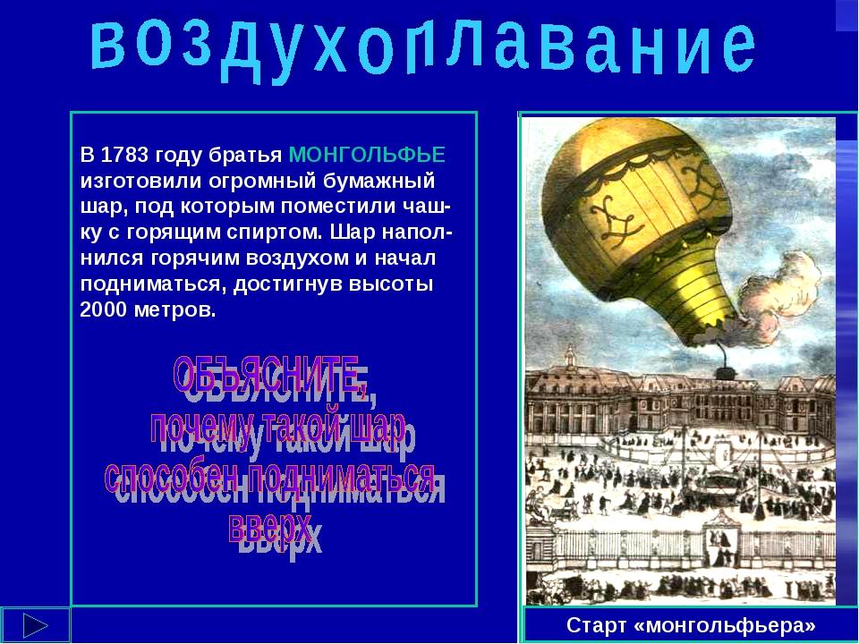 Старт «монгольфьера» В 1783 году братья МОНГОЛЬФЬЕ изготовили огромный бумажн...