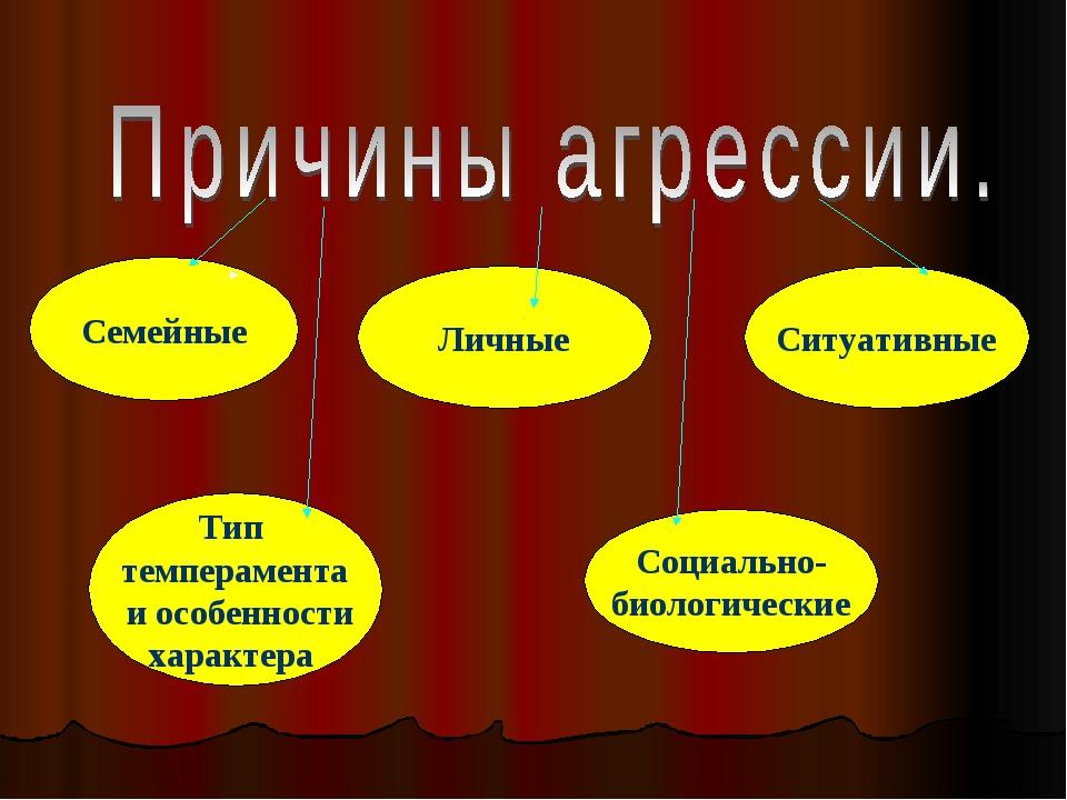 Семейные Личные Ситуативные Тип темперамента и особенности характера Социальн...