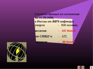 Согласно данным по состоянию на 01.08.2000, в России от ВИЧ-инфекции умерли -