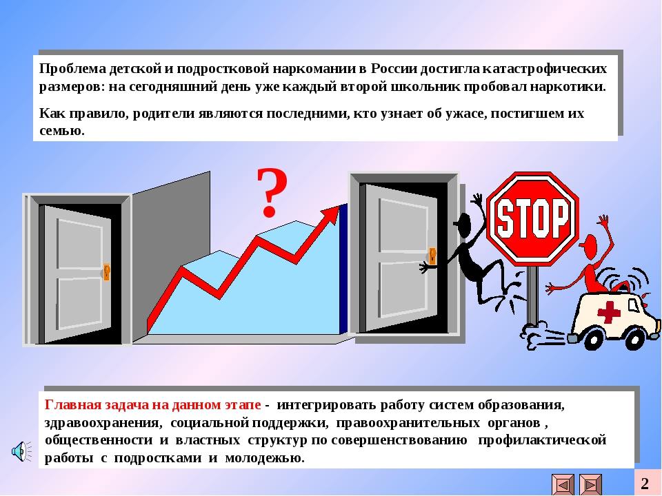 Проблема детской и подростковой наркомании в России достигла катастрофических...