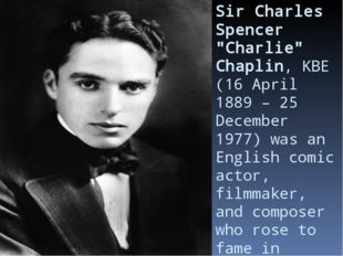 "Sir Charles Spencer ""Charlie"" Chaplin,KBE(16 April 1889– 25 December 1977)"