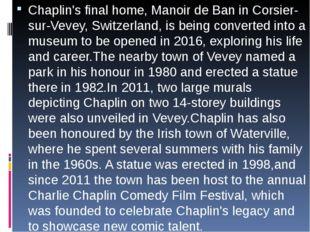 Chaplin's final home, Manoir de Ban in Corsier-sur-Vevey, Switzerland, is be