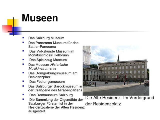 Museen Das Salzburg Museum Das Panorama Museum für das Sattler-Panorama Das V...
