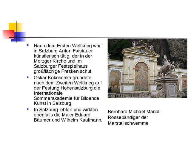 Nach dem Ersten Weltkrieg war in Salzburg Anton Faistauer künstlerisch tätig,...