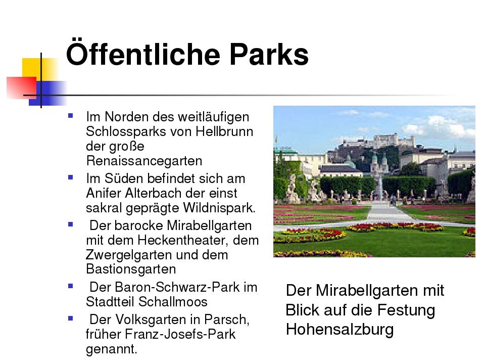 Öffentliche Parks Im Norden des weitläufigen Schlossparks von Hellbrunn der g...