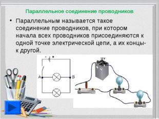 Параллельное соединение проводников Параллельным называется такое соединение