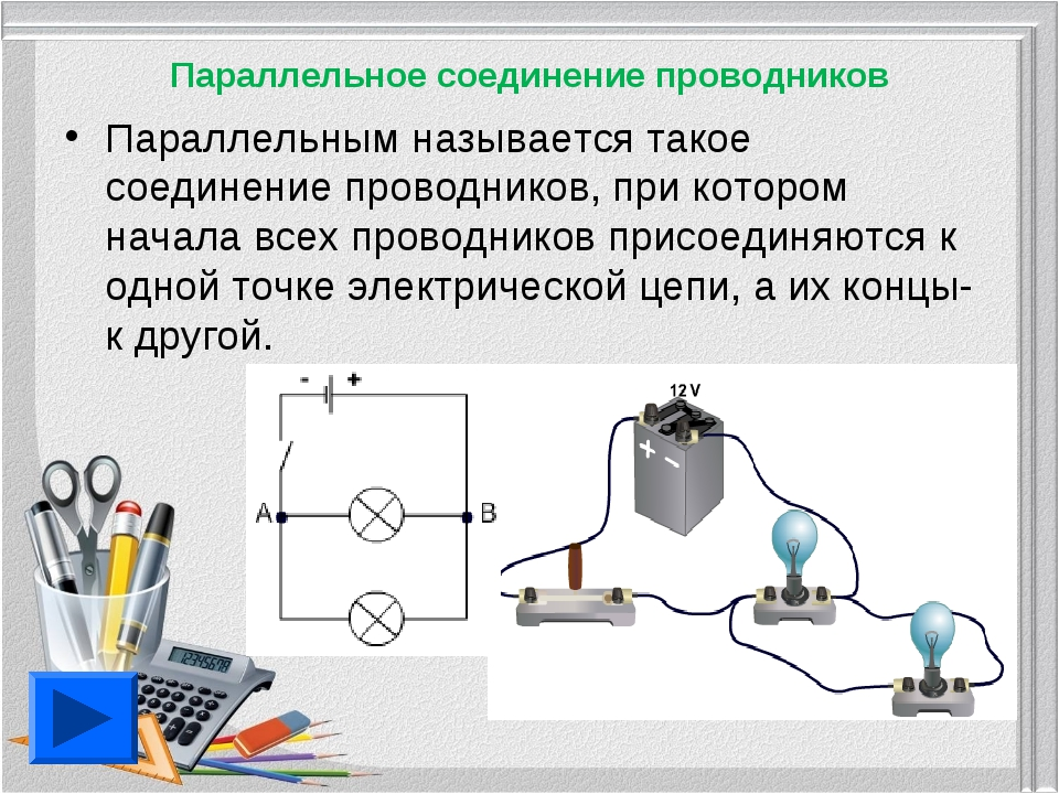 Параллельное соединение проводников Параллельным называется такое соединение...