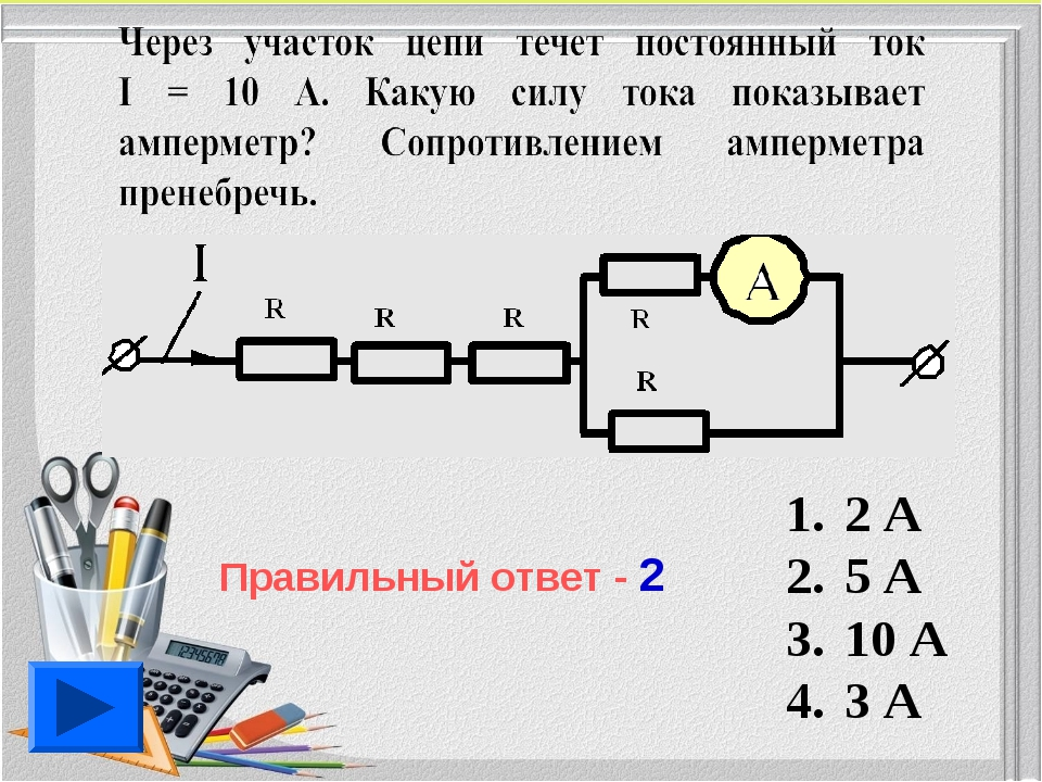 2 А 5 А 10 А 3 А Правильный ответ - 2