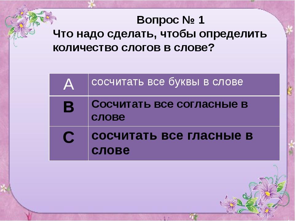Вопрос № 1 Что надо сделать, чтобы определить количество слогов в слове? А с...