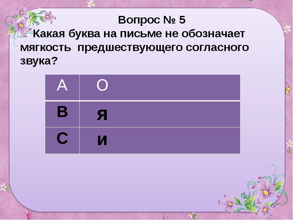 Вопрос № 5 Какая буква на письме не обозначает мягкость предшествующего согл...