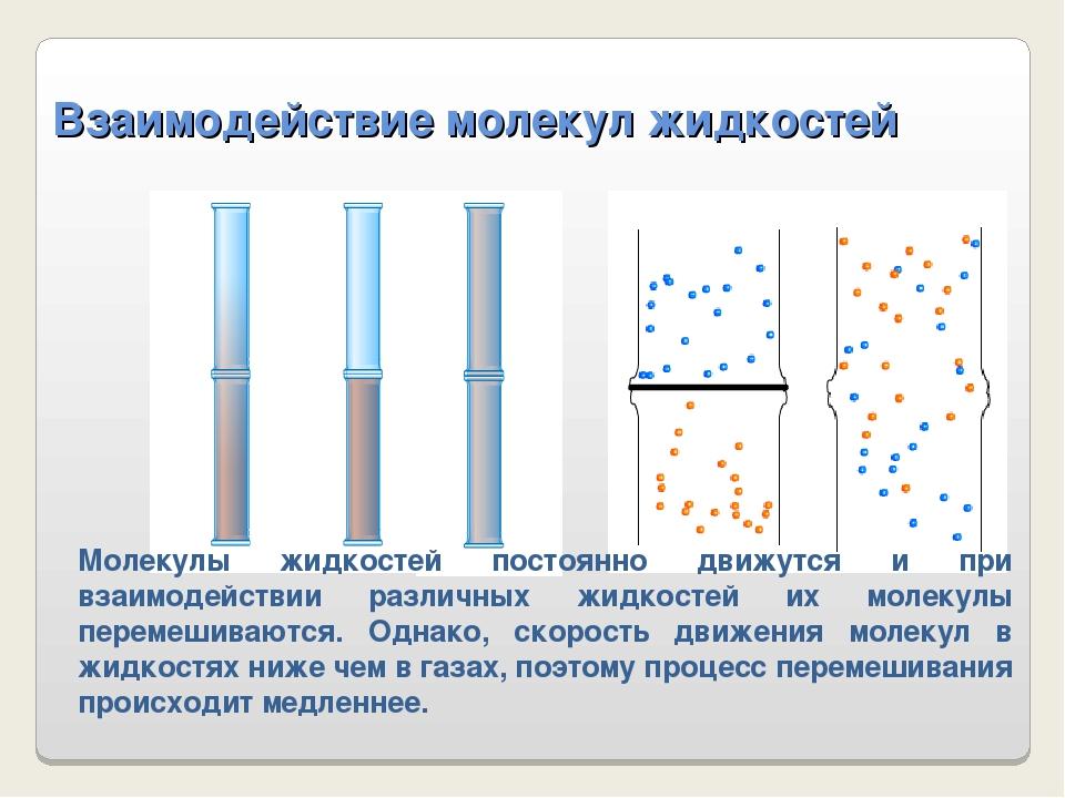 Взаимодействие молекул жидкостей Молекулы жидкостей постоянно движутся и при...
