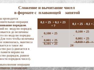 Сложение и вычитание чисел в формате с плавающей запятой Сначала проводится п