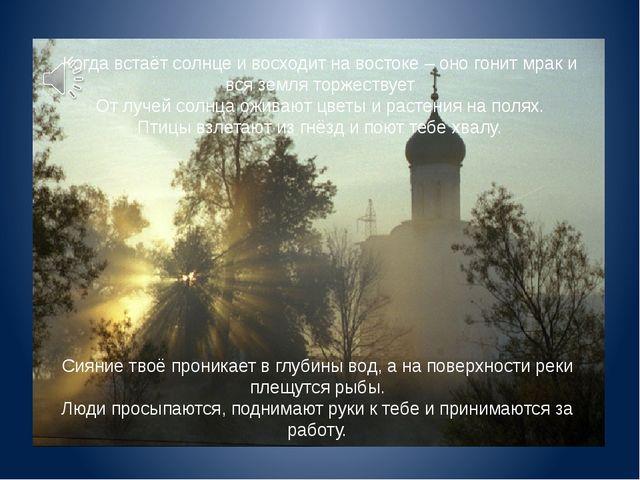 Когда встаёт солнце и восходит на востоке – оно гонит мрак и вся земля торжес...