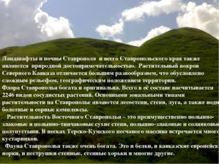 Ландшафты и почвы Ставрополя и всего Ставропольского края также являются п