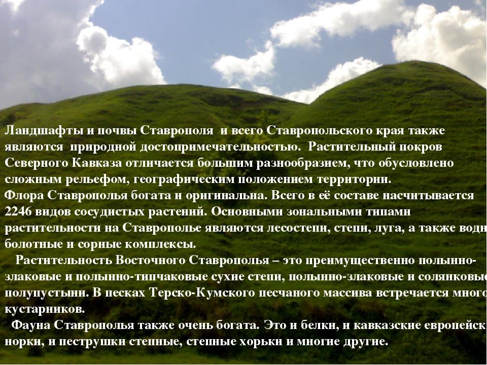 Ландшафты и почвы Ставрополя и всего Ставропольского края также являются п...