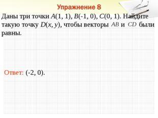 Ответ: (-2, 0). Даны три точки А(1, 1), В(-1, 0), С(0, 1). Найдите такую точк