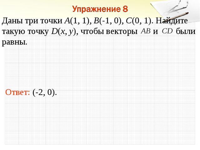 Ответ: (-2, 0). Даны три точки А(1, 1), В(-1, 0), С(0, 1). Найдите такую точк...