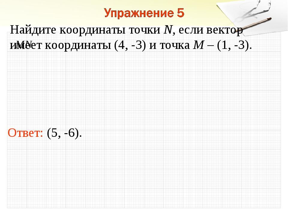 Ответ: (5, -6). Найдите координаты точки N, если вектор имеет координаты (4,...