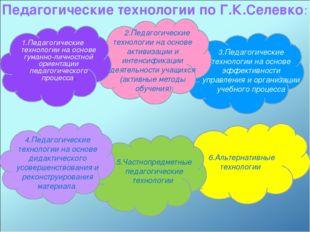 6.Альтернативные технологии Педагогические технологии по Г.К.Селевко: 1.Педаг