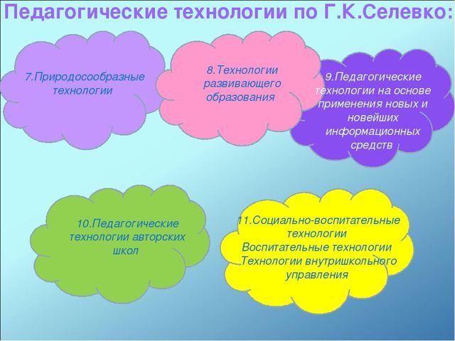 Педагогические технологии по Г.К.Селевко: 7.Природосообразные технологии 8.Те...