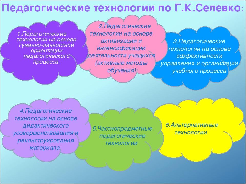 6.Альтернативные технологии Педагогические технологии по Г.К.Селевко: 1.Педаг...