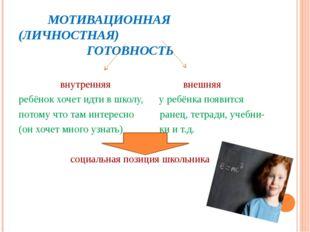 МОТИВАЦИОННАЯ (ЛИЧНОСТНАЯ) ГОТОВНОСТЬ внутренняя внешняя ребёнок хочет идти