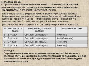 Исследование №2 « Оценка экологического состояния почвы по кислотности солево