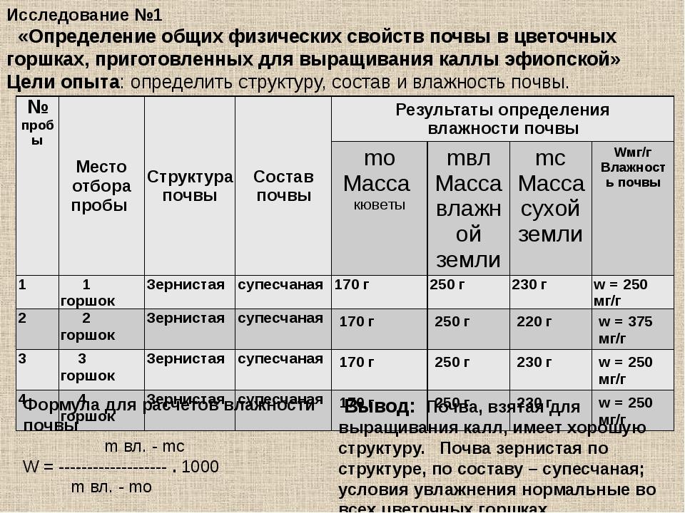 Исследование №1 «Определение общих физических свойств почвы в цветочных горшк...