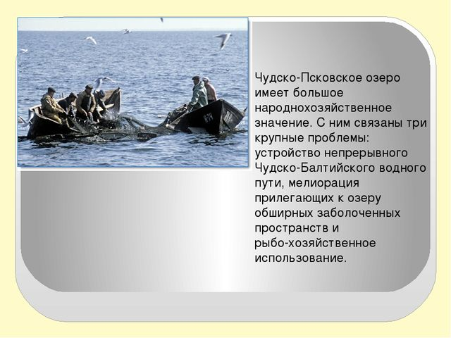 Чудско-Псковское озеро имеет большое народнохозяйственное значение. С ним св...