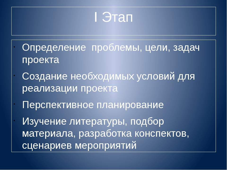 I Этап Определение проблемы, цели, задач проекта Создание необходимых условий...