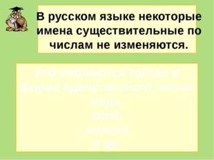 В русском языке некоторые имена существительные по числам не изменяются. Упо