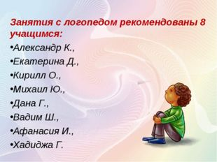 Занятия с логопедом рекомендованы 8 учащимся: Александр К., Екатерина Д., Кир