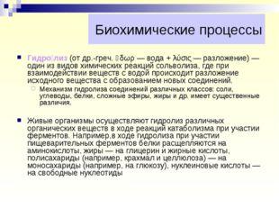 Биохимические процессы Гидро́лиз (от др.-греч. ὕδωρ — вода + λύσις — разложен
