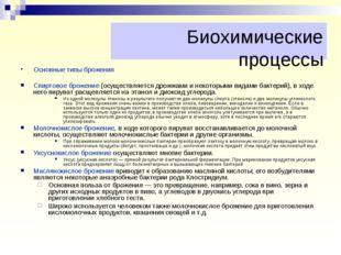 Основные типы брожения Спиртовое брожение (осуществляется дрожжами и некоторы