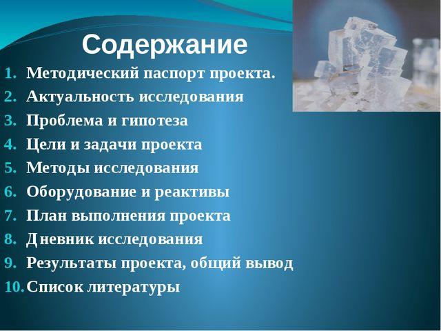 Содержание Методический паспорт проекта. Актуальность исследования Проблема и...