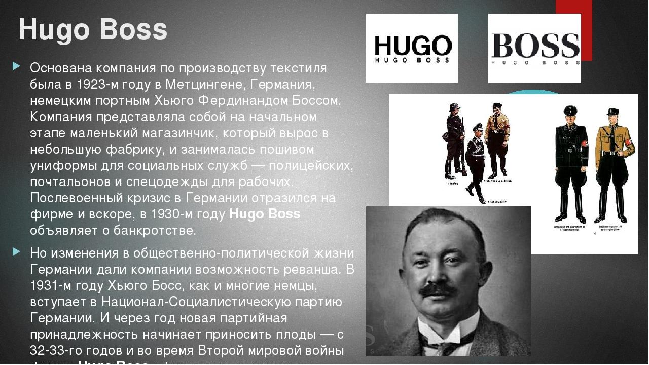Hugo Boss Основана компания по производству текстиля была в 1923-м году в Мет...