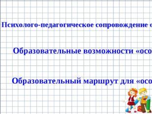 Образовательные возможности «особого» младшего школьника Психолого-педагогиче