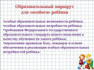 особые образовательные возможности ребёнка; особые образовательные потребност