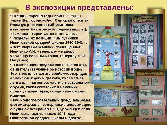 В экспозиции представлены: Стенды: «Край в годы войны», «Сын земли Белгородск...