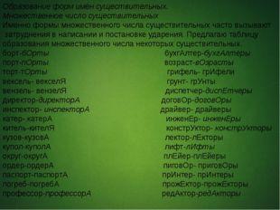 Образование форм имён существительных. Множественное число существительных И