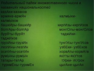 Родительный падеж множественного числа в названиях национальностей казАхи-ка