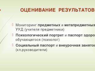 ОЦЕНИВАНИЕ РЕЗУЛЬТАТОВ Мониторинг предметных и метапредметных УУД (учителя пр