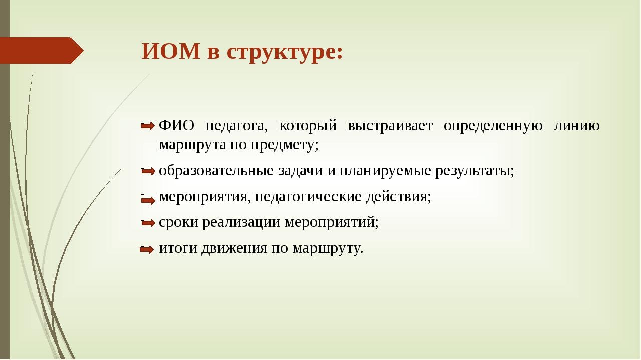 ИОМ в структуре: ФИО педагога, который выстраивает определенную линию маршрут...