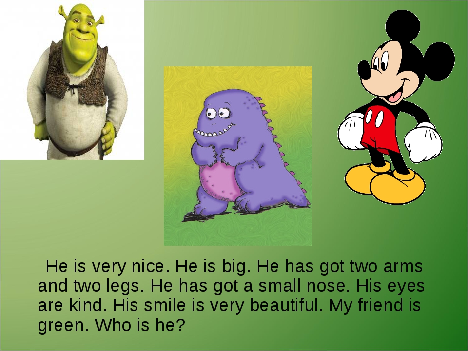 He is very nice. He is big. He has got two arms and two legs. He has got a s...