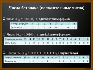 Числа без знака (положительные числа) Число 3610 = 100100 2 в однобайтовом фо