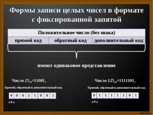 Формы записи целых чисел в формате с фиксированной запятой имеют одинаковое п
