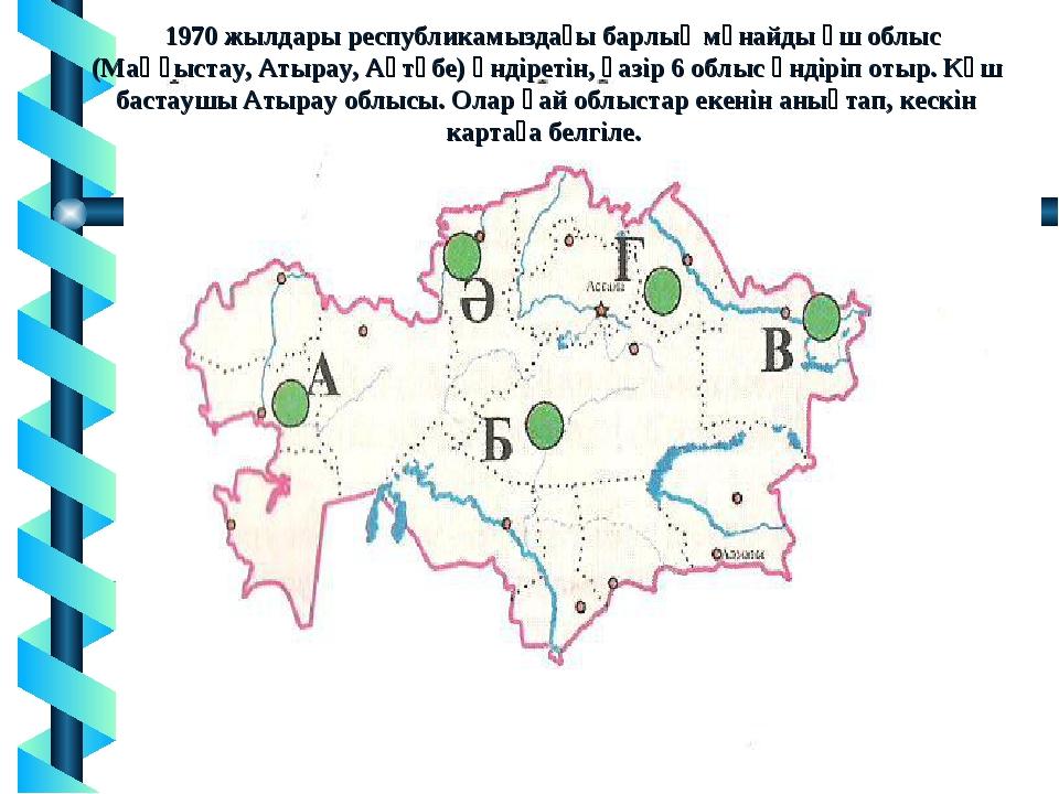 1970 жылдары республикамыздағы барлық мұнайды үш облыс (Маңғыстау, Атырау, А...