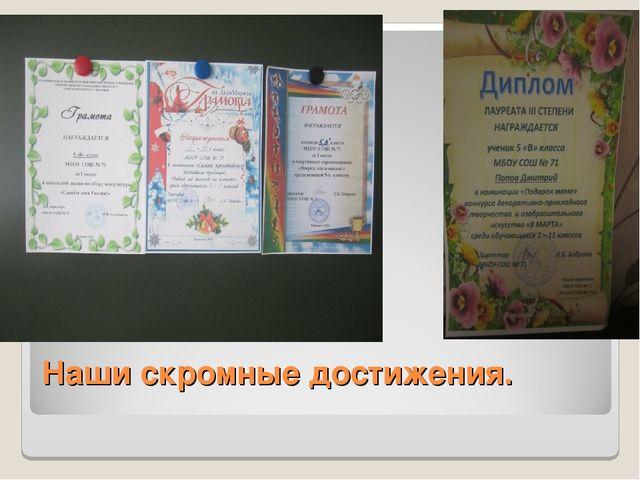 Наши скромные достижения.