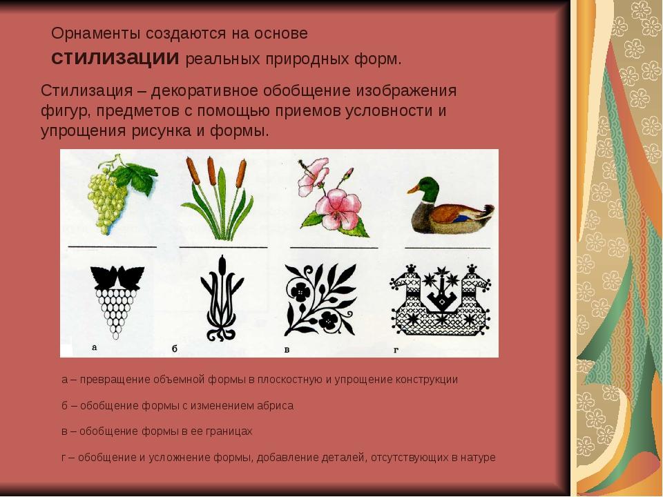 Орнаменты создаются на основе стилизации реальных природных форм. Стилизация...